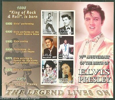 MALDIVES 70th BIRTH OF ELVIS PRESLEY  SC#2870  SHEET IMPERFORATED MINT NH