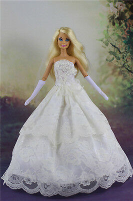 White Fashion Princess Dress Wedding Clothes/Gown+Veil + Gloves for Barbie Doll