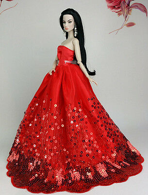 Gorgeous Princess Party Red Sequin Dress/Clothes Wedding Gown For 11.5in.Doll S8