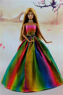 Multi Color Fashion Princess Party Dress Wedding Clothes/Gown For 11.5in.Doll
