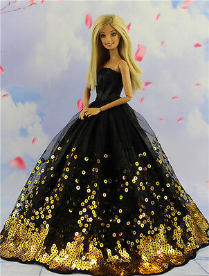 Fashion Princess Party Black Sequin Dress Wedding Clothes/Gown For 11.5in.Doll