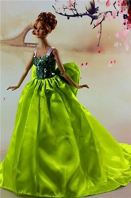 Fashion Royalty Lovely Princess Dress Wedding Green Bowknot Gown For Barbie Doll