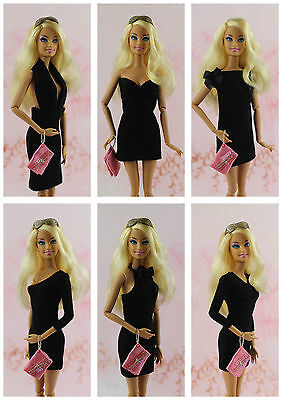 6 x Vintage Little Black Dress/Clothes/Outfit Handmade For 11.5in.Doll