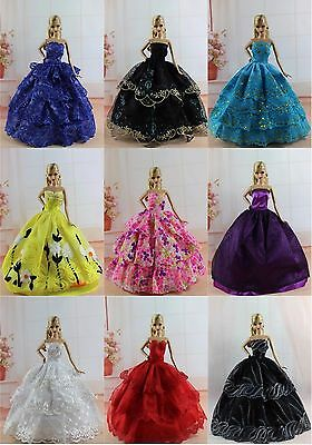 15 items=5 Fashion Royalty Ballgown Clothes/Dress/Gown +10 shoes For Barbie Doll