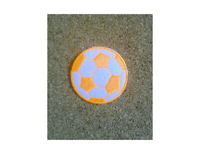 """2/"""" Soccer Ball Iron on Embroidered Patch Neon Yellow//White"""