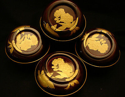 """5"""" Vintage Japanese Showa Period Lacquered Wood Cover Bowl Set Of 4"""