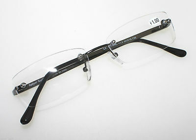 G&G Rimless Reading Glasses Men Unisex Gun Metal Arms Frameless Fashion Business