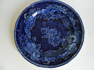 """EARLY 19th C. STAFFORDSHIRE 9.25"""" HISTORICAL PLATE """"VUE de CHATEAU"""", FLOW BLUE"""