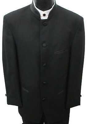 Black Mandarin Nehru Collar Tuxedo Jacket Theater Costume Beatles Band 40XL
