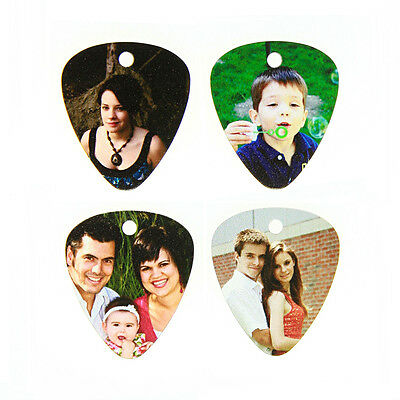 Custom Personalized GUITAR PICK Dogtag Picture Pendant w/ UV Dome Shape Coating
