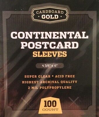 1000 Cardboard Gold CBG Continental Postcard Archival Soft Clear Poly Sleeves