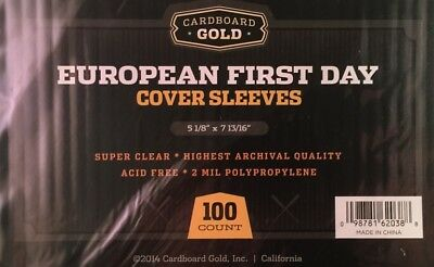 Lot of 200 CBG European First Day Cover 2 mil Soft Poly Sleeves protectors