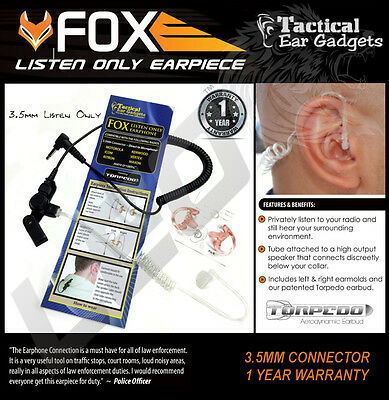 Tactical Ear Gadgets™ 3.5mm Fox Listen Only Earpiece with Tube and Earmolds