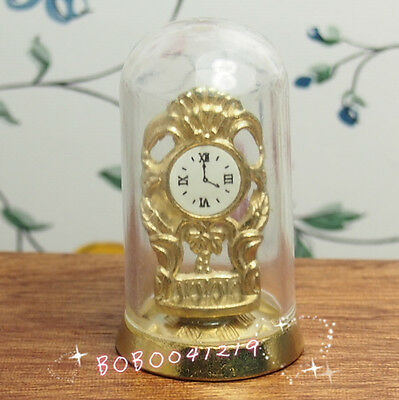 Dollhouse Miniature 1:12 Toy A Vintage Glass and Metal Cover clock H4.5cm F4244