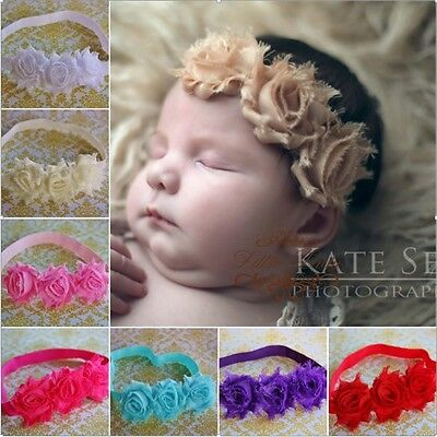 Girl Baby Headband Elastic Hair Band Shabby Flower Rose Christening Wedding Soft