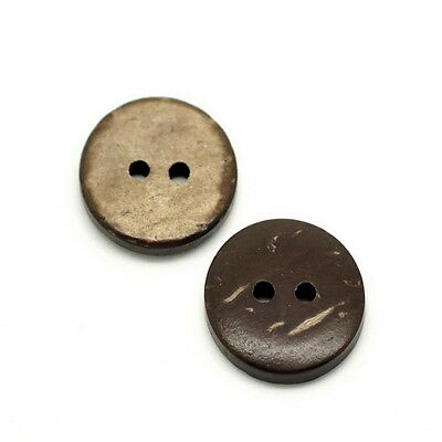 "50PCs Brown Coconut Shell 2 Holes Sewing Buttons Scrapbooking 15mm(5/8"")Dia"