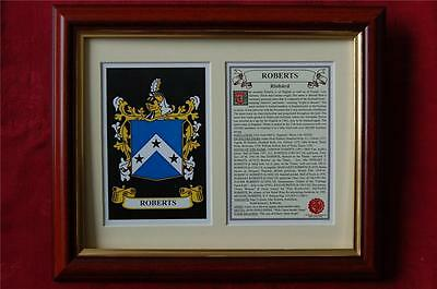 ROBERTS Heraldic FRAMED Coat of Arms Family Crest and History