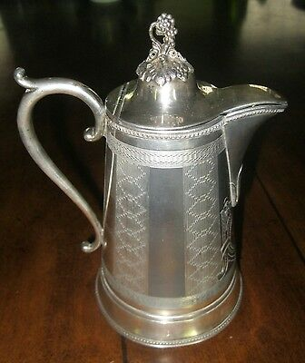 VICTORIAN SP MERIDEN BRITIA CHASED & ENGRAVED ORNATE PITCHER/CREAMER