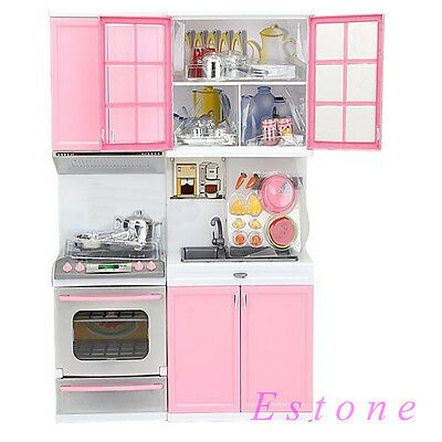 2014 New Kids Kitchen Pretend Play Pink Cook Cooking Set Cabinet Stove Toy