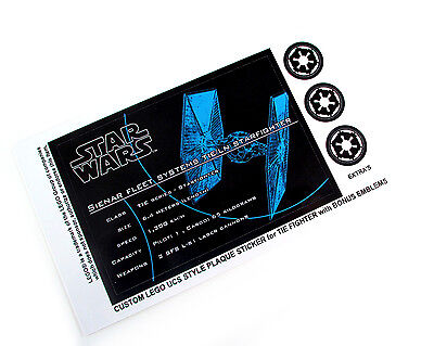 CUSTOM UCS STYLE PLAQUE 'DIE CUT' STICKERS for STAR WARS TIE FIGHTER + EMBLEM