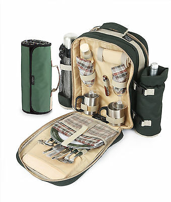 Super Deluxe Green Picnic Backpack for 2 People and Blanket, Rucksack, Hamp