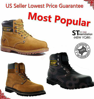 FREE SHIPPING + FREE SOCKS Kingshow Men's Winter Snow Work Boots Leather8036