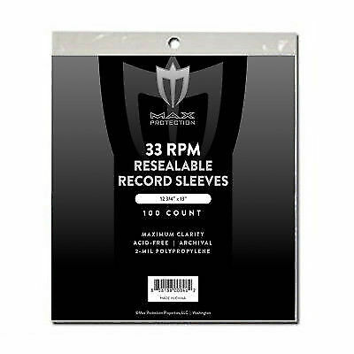 300 Max Pro 33RPM Resealable Record Album Archival 2mm Clear Outer Bags Sleeves