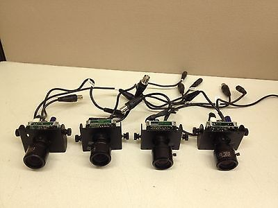LOT of 4 Tested Wren 12V DC CCTV Board Camera w/ 3.5-8mm Lens & Wires BNC