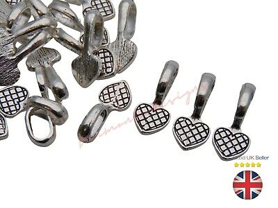 Tibetan Silver Heart Glue on 21mm Bails Pendant Cabochon Jewellery Findings ML