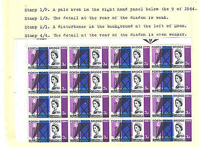 GB 1964 FRB 3d Stamps BLOCK of 16 with VARIETIES Inc Dr BLADE Flaw REF:E922