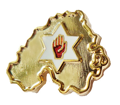 Northern Ireland Map With Red Hand Gilt Pin  Badge - K080