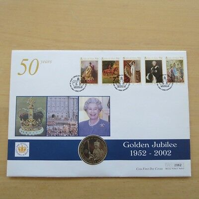 First Day Coin Cover - Golden Jubilee HM QEII 2002 Isle of Man Crown Coin Cover
