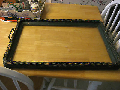 EARLY 1900S WICKER TRAY WITH HEAVY GLASS BOTTOM PAINTED GREEN WITH HANDLES
