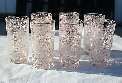 Set of 7 Libbey Riviera Hostess Glasses Pink Tumblers Mid Century