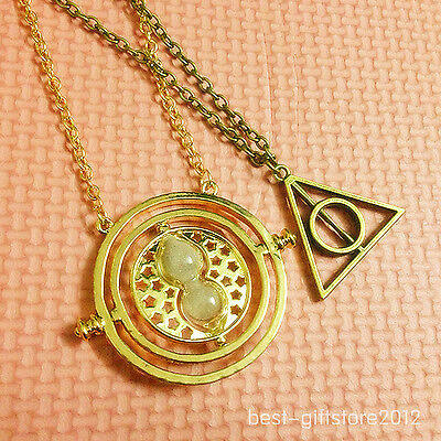 new Harry Potter Deathly Hallows+Hermione Granger Time necklace hourglass l3