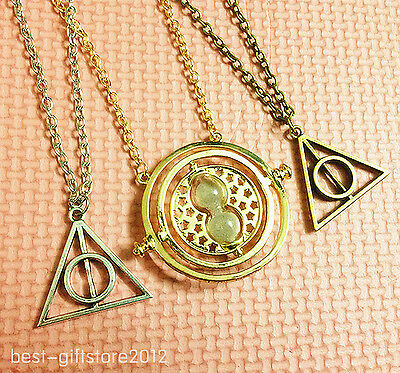 Harry Potter Deathly Hallows+Hermione Granger Time necklace hourglass new l4
