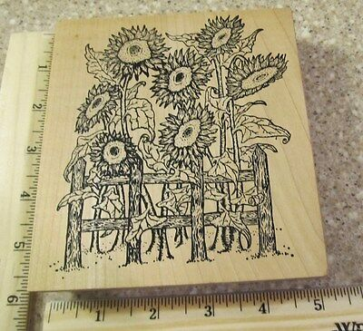 SUNFLOWERS ON THE FENCE  MW RUBBER STAMP- OUTLINES RUBBER STAMPS