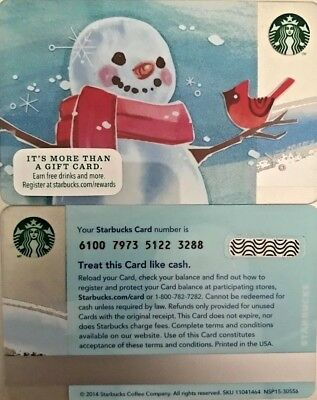 New 2014 Starbucks Snowman Gift Card W/holder Limited Edition No Value Mint