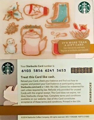 New 2014 Starbucks Holiday Fun Gift Card Limited Edition No Value Mint