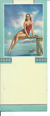 J-004 - Pretty Pin-Up Girl in Swimsuit, 1940's, Advertising Ink Blotter