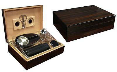 New Davenport - 50 Count Ebony Cigar Humidor Gift Set W/matching Accessories