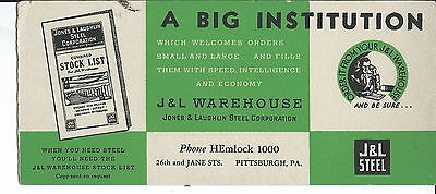 J-018 Jones Laughlin Steel Co Stencil Advertising Ink Blotter, 1930s Vintage