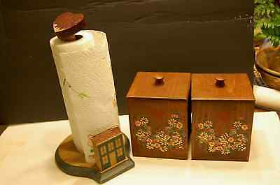 Vintage Nesting Wood Heart  Box Canisters w/lids, Retro and Paper Towel Holder