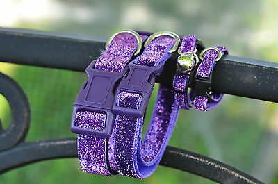 Purple Bling dog collar & lead set XS, SM, Med, Large From $25 per set
