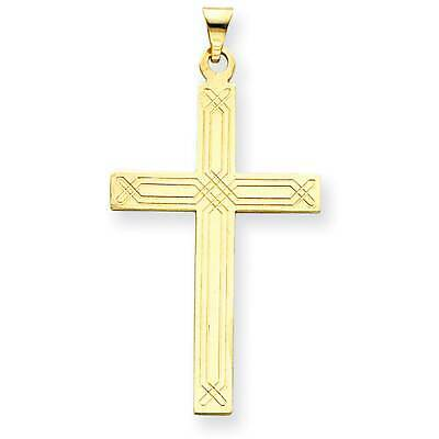 14k Yellow Gold Cross Solid Polished Charm Pendant 27mmx16mm