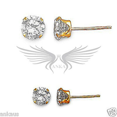 10kt Solid Gold Stud Earrings with AAA Grade Cubic Zircon CZ 10KTRNDCZSTUDS