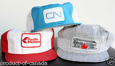 ★ Lot of 3 Hats ★ Pacific Western Airlines CN Rail Canada Caps Train VIA