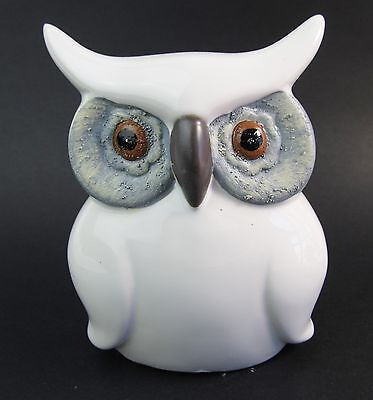 Owl Figurine - Cut White ceramic owl with blue grey eye surrong and beaded eyes