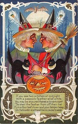 1900's EMBOSSED HALLOWEEN TWIN WITCH ONE BROOM, BLACK CAT JACK-O-LANTERN PEACOCK
