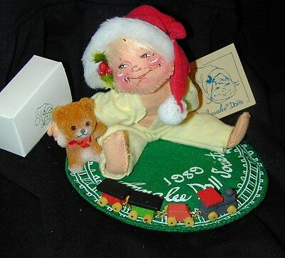 1989 ANNALEE Doll Society CHRISTMAS MORNING KID Teddy Bear Train Set & Pin/Box